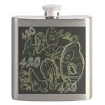 Green 420 Graffiti Collage Flask