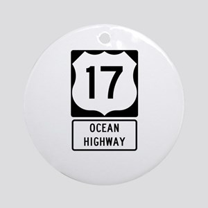 US Route 17 Ocean Highway Round Ornament