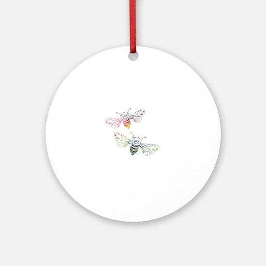 Unique Honeybee Round Ornament