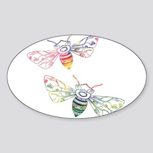 Multicolored Honeybee Doodles Sticker