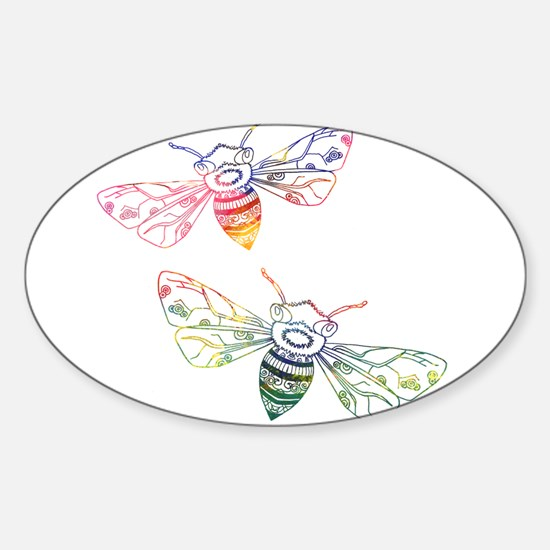 Multicolored Honeybee Doodles Decal