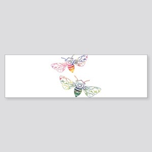 Multicolored Honeybee Doodles Bumper Sticker