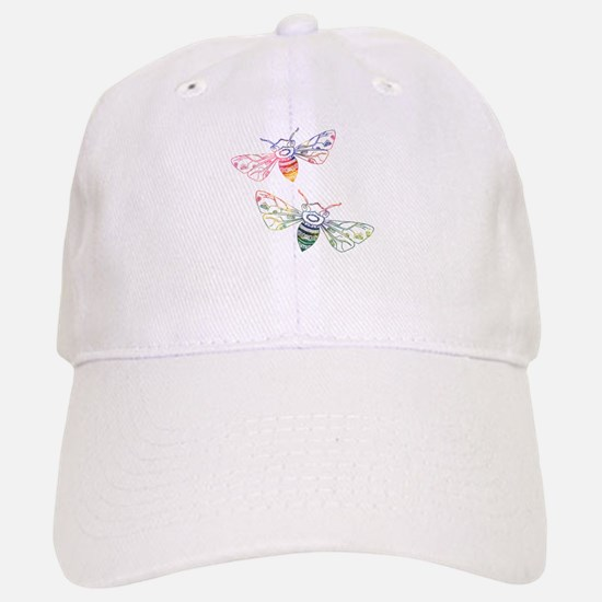 Multicolored Honeybee Doodles Baseball Baseball Cap