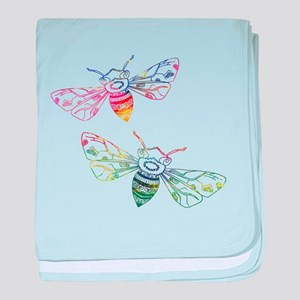 Multicolored Honeybee Doodles baby blanket