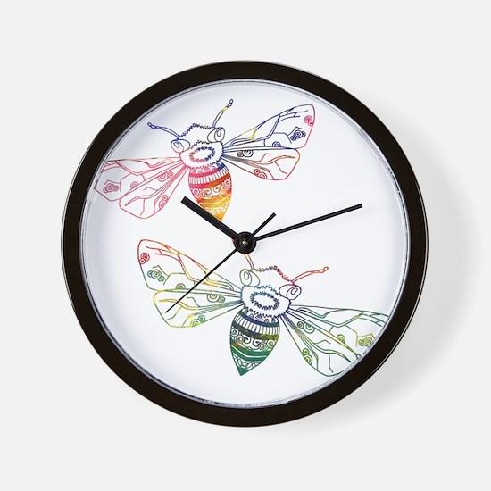 Multicolored Honeybee Doodles Wall Clock
