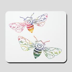Multicolored Honeybee Doodles Mousepad