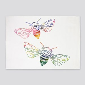 Multicolored Honeybee Doodles 5'x7'Area Rug