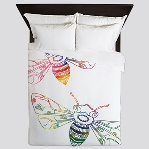 Multicolored Honeybee Doodles Queen Duvet