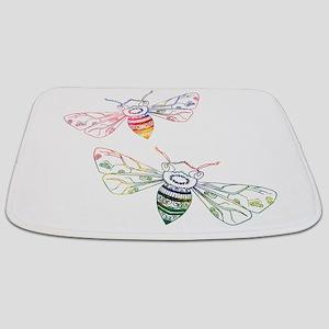 Multicolored Honeybee Doodles Bathmat
