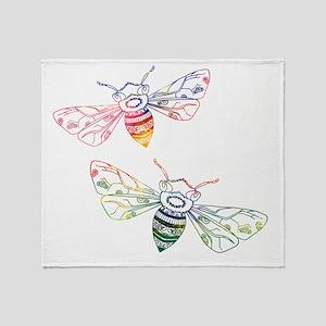 Multicolored Honeybee Doodles Throw Blanket