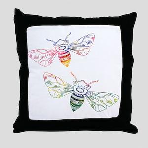 Multicolored Honeybee Doodles Throw Pillow