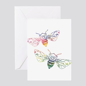 Multicolored Honeybee Doodles Greeting Cards