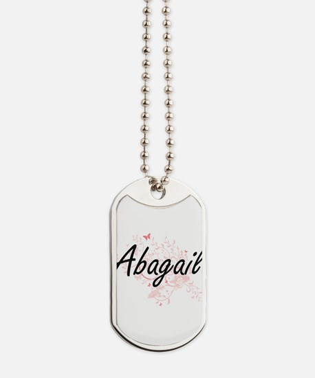 Abagail Artistic Name Design with Butterf Dog Tags