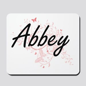 Abbey Artistic Name Design with Butterfl Mousepad