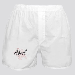 Abril Artistic Name Design with Butte Boxer Shorts