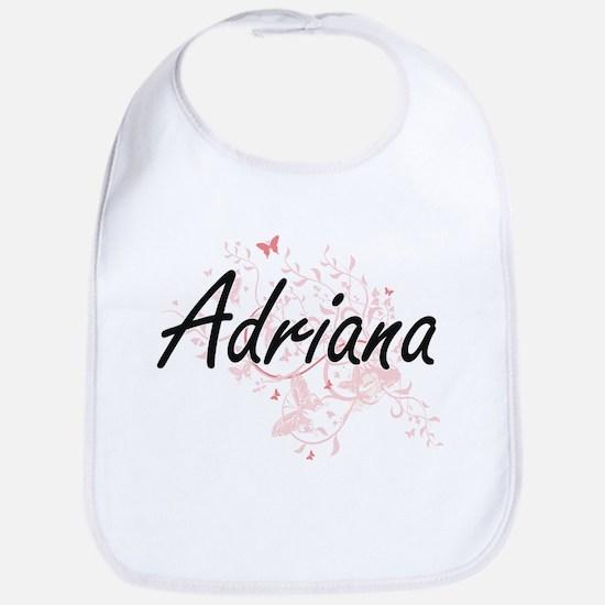 Adriana Artistic Name Design with Butterflies Bib