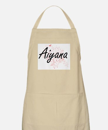 Aiyana Artistic Name Design with Butterflies Apron