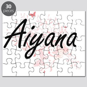 Aiyana Artistic Name Design with Butterflie Puzzle