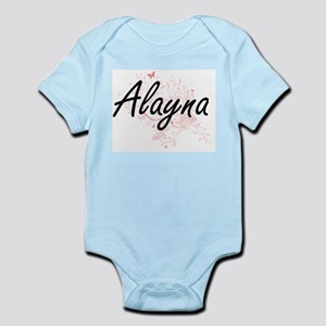 Alayna Artistic Name Design with Butterf Body Suit
