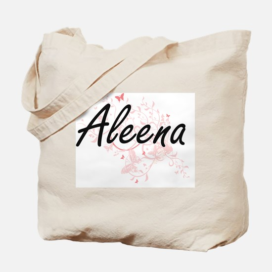 Aleena Artistic Name Design with Butterfl Tote Bag