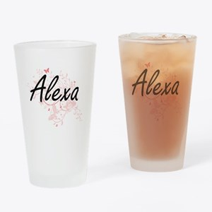 Alexa Artistic Name Design with But Drinking Glass