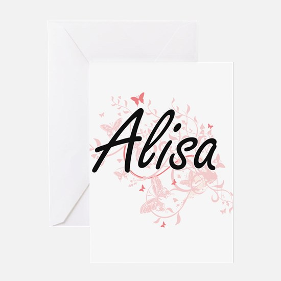Alisa Artistic Name Design with But Greeting Cards