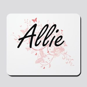 Allie Artistic Name Design with Butterfl Mousepad