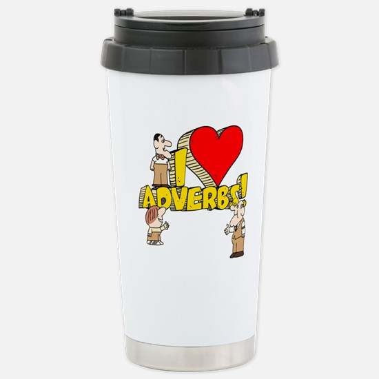 I Heart Adverbs Ceramic Travel Mug