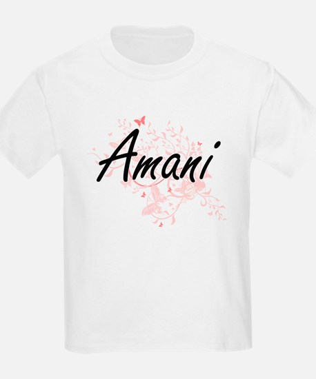 Amani Artistic Name Design with Butterflie T-Shirt