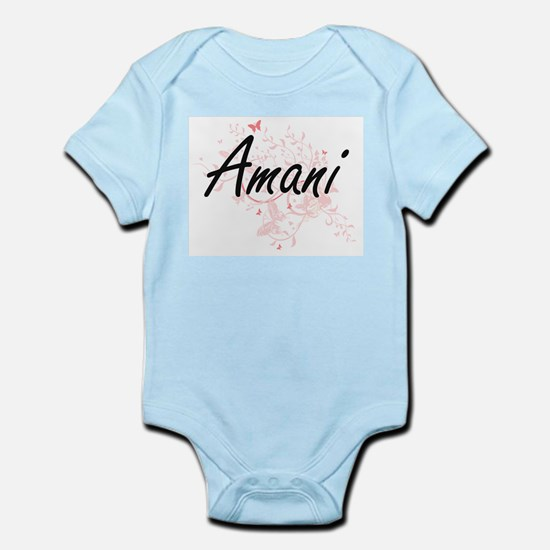 Amani Artistic Name Design with Butterfl Body Suit
