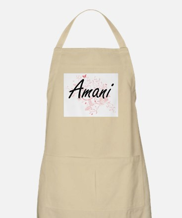 Amani Artistic Name Design with Butterflies Apron