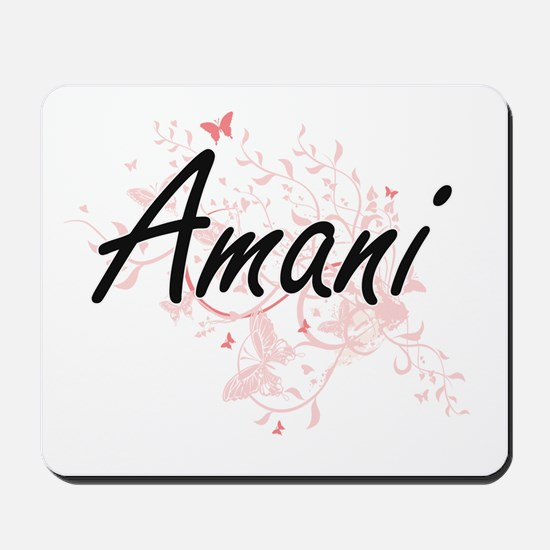 Amani Artistic Name Design with Butterfl Mousepad