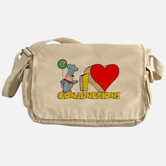 I Heart Conjunctions Canvas Messenger Bag