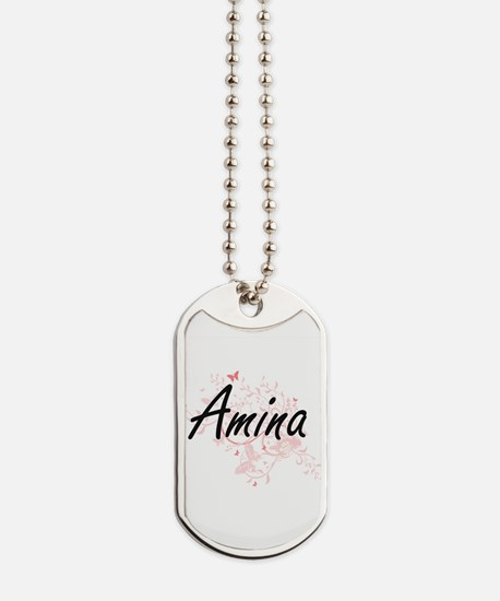 Amina Artistic Name Design with Butterfli Dog Tags