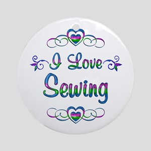 I Love Sewing Round Ornament