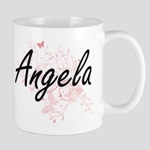Angela Artistic Name Design with Butterflies Mugs
