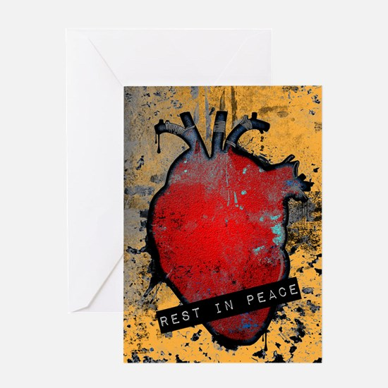 rest in peace anatomical heart Greeting Cards
