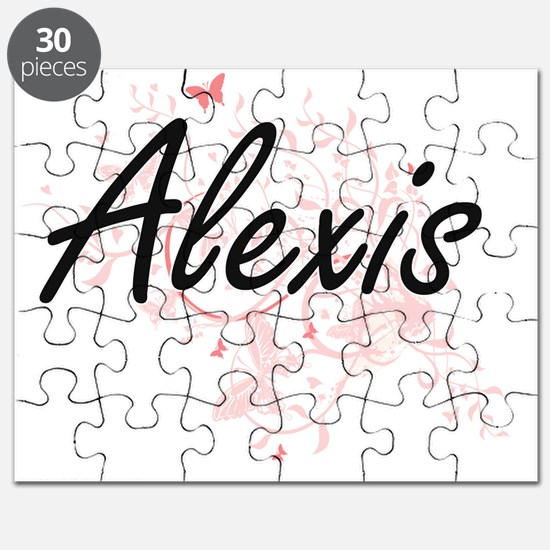 Alexis Artistic Name Design with Butterflie Puzzle