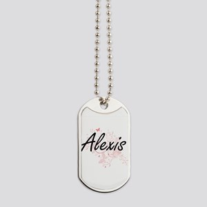 Alexis Artistic Name Design with Butterfl Dog Tags