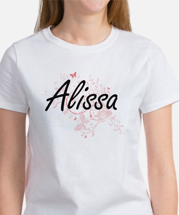 Alissa Artistic Name Design with Butterfli T-Shirt
