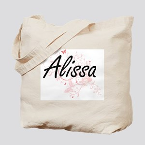 Alissa Artistic Name Design with Butterfl Tote Bag