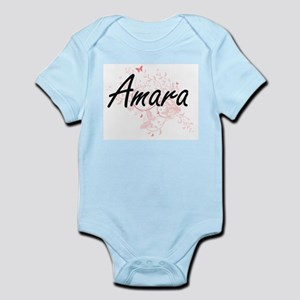 Amara Artistic Name Design with Butterfl Body Suit