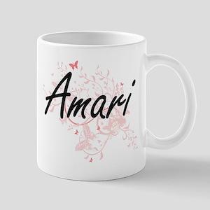 Amari Artistic Name Design with Butterflies Mugs