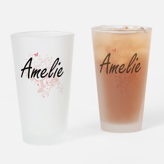 Amelie Artistic Name Design with Bu Drinking Glass