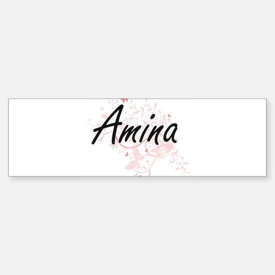 Amina Artistic Name Design with But Bumper Bumper Bumper Sticker
