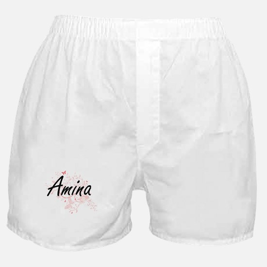Amina Artistic Name Design with Butte Boxer Shorts