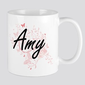 Amy Artistic Name Design with Butterflies Mugs