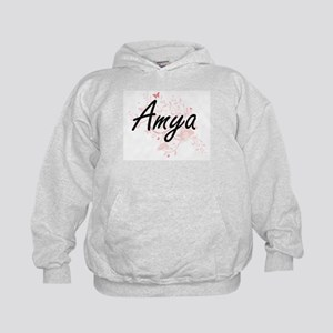 Amya Artistic Name Design with Butterf Kids Hoodie