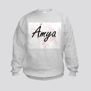 Amya Artistic Name Design with But Kids Sweatshirt