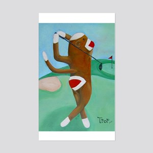 Golf Sock Monkey Rectangle Sticker